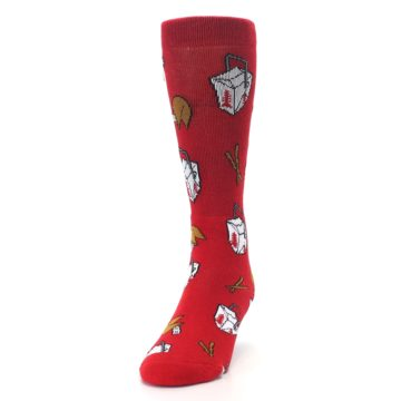 Image of Red Chinese Take Out Food Men's Casual Socks (side-2-front-06)