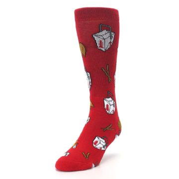 Image of Red Chinese Take Out Food Men's Casual Socks (side-2-front-07)