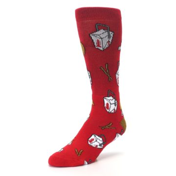 Image of Red Chinese Take Out Food Men's Casual Socks (side-2-front-08)
