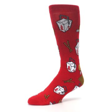 Image of Red Chinese Take Out Food Men's Casual Socks (side-2-09)