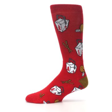 Image of Red Chinese Take Out Food Men's Casual Socks (side-2-11)