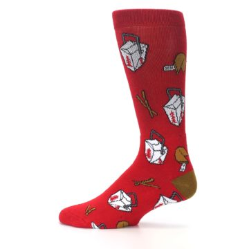 Image of Red Chinese Take Out Food Men's Casual Socks (side-2-12)