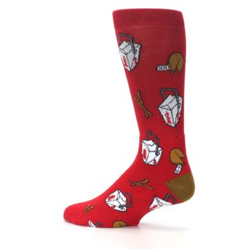Image of Red Chinese Take Out Food Men's Casual Socks (side-2-13)