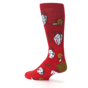 Image of Red Chinese Take Out Food Men's Casual Socks (side-2-back-14)