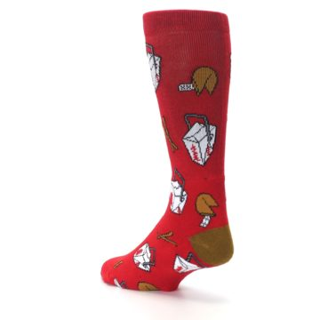 Image of Red Chinese Take Out Food Men's Casual Socks (side-2-back-15)
