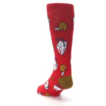Image of Red Chinese Take Out Food Men's Casual Socks (side-2-back-16)