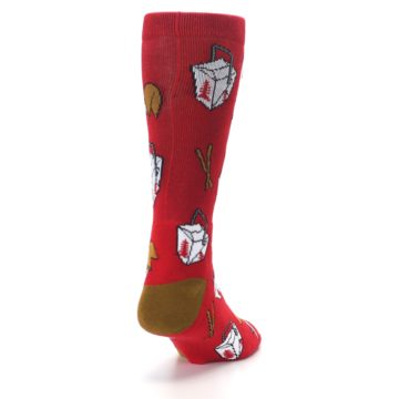 Image of Red Chinese Take Out Food Men's Casual Socks (side-1-back-20)