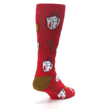 Image of Red Chinese Take Out Food Men's Casual Socks (side-1-back-21)