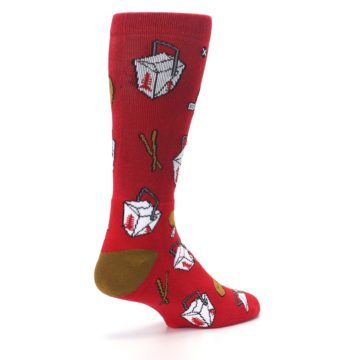 Image of Red Chinese Take Out Food Men's Casual Socks (side-1-back-22)