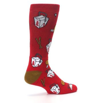 Image of Red Chinese Take Out Food Men's Casual Socks (side-1-23)