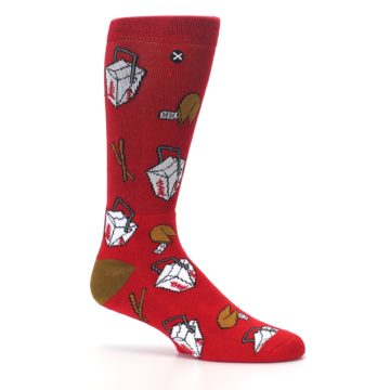 Image of Red Chinese Take Out Food Men's Casual Socks (side-1-25)