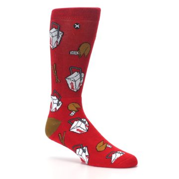 Image of Red Chinese Take Out Food Men's Casual Socks (side-1-26)