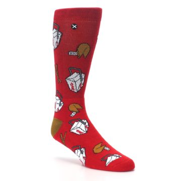 Image of Red Chinese Take Out Food Men's Casual Socks (side-1-27)