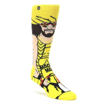 Yellow-Red-Randy-Savage-Mens-Casual-Socks-Odd-Sox