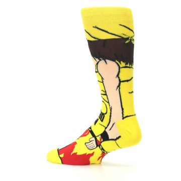 Image of Yellow Red Randy Savage Men's Casual Socks (side-2-13)