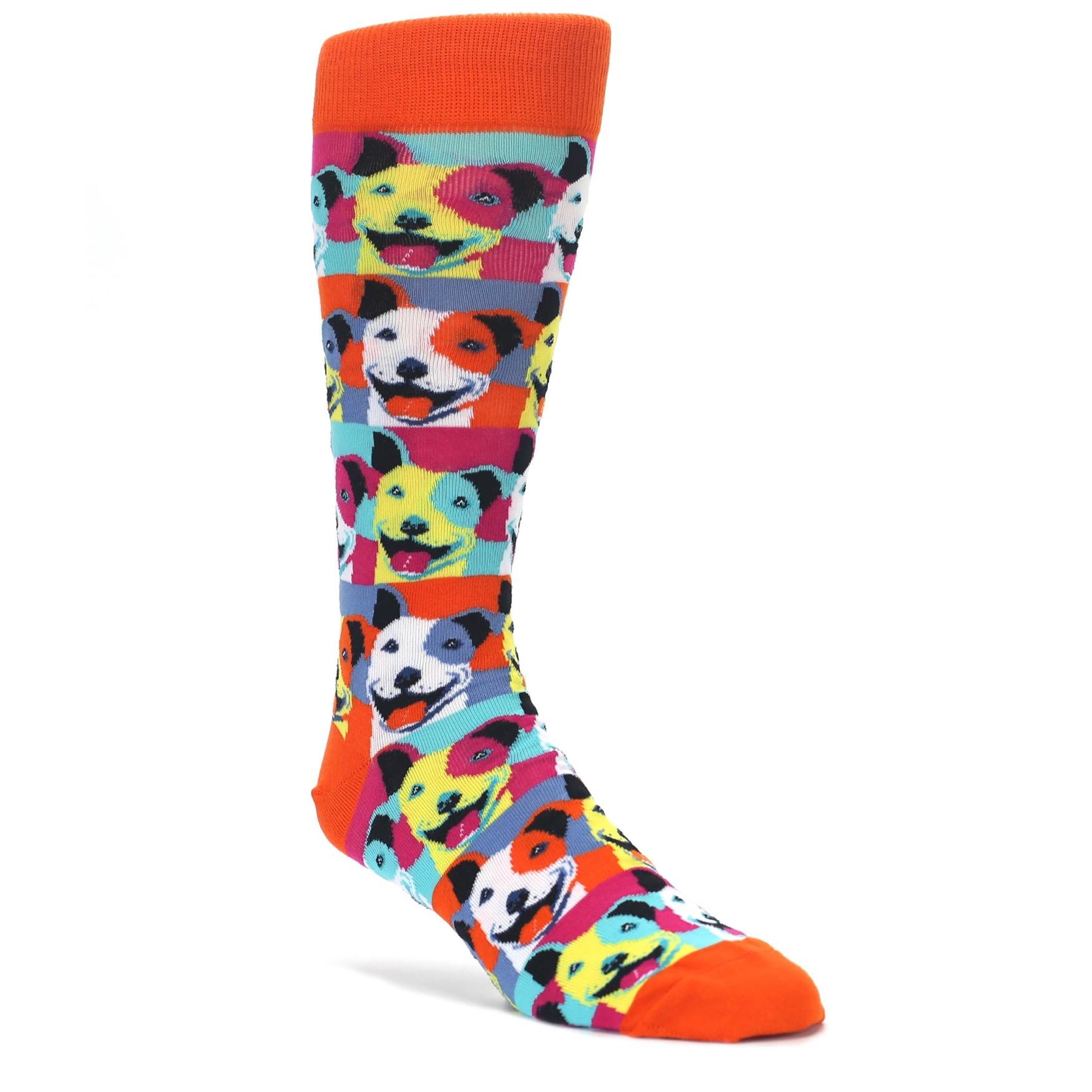 Orange Multi Color Pitbull Pop Art Men's Dress Socks | boldSOCKS