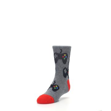 Image of Gray Video Game Controller Kid's Dress Socks (side-2-front-07)