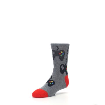 Image of Gray Video Game Controller Kid's Dress Socks (side-2-front-08)