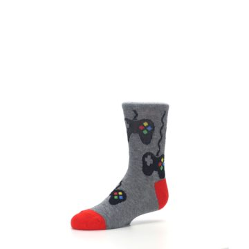 Image of Gray Video Game Controller Kid's Dress Socks (side-2-09)