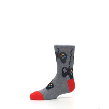 Image of Gray Video Game Controller Kid's Dress Socks (side-2-10)