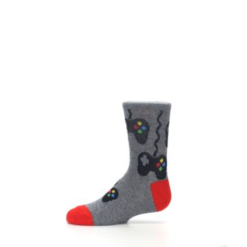 Image of Gray Video Game Controller Kid's Dress Socks (side-2-11)