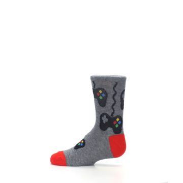 Image of Gray Video Game Controller Kid's Dress Socks (side-2-12)