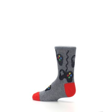 Image of Gray Video Game Controller Kid's Dress Socks (side-2-13)
