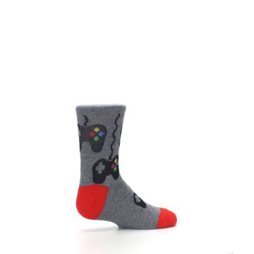 Image of Gray Video Game Controller Kid's Dress Socks (side-1-23)