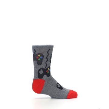 Image of Gray Video Game Controller Kid's Dress Socks (side-1-24)