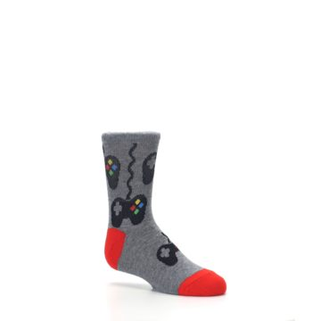 Image of Gray Video Game Controller Kid's Dress Socks (side-1-26)