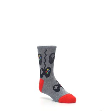 Image of Gray Video Game Controller Kid's Dress Socks (side-1-27)