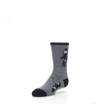 Image of Gray Ninja Warrior Kid's Dress Socks (side-2-front-08)