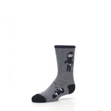Image of Gray Ninja Warrior Kid's Dress Socks (side-2-09)