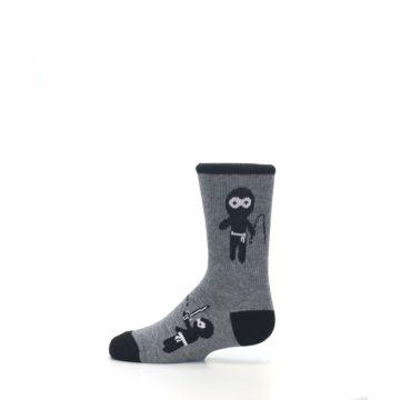 Image of Gray Ninja Warrior Kid's Dress Socks (side-2-12)