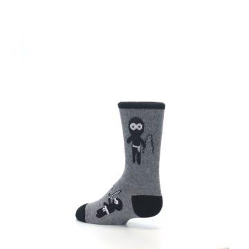 Image of Gray Ninja Warrior Kid's Dress Socks (side-2-back-14)