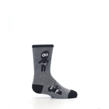 Image of Gray Ninja Warrior Kid's Dress Socks (side-1-24)