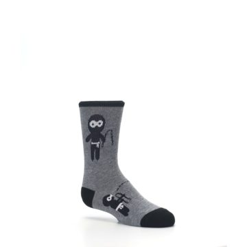 Image of Gray Ninja Warrior Kid's Dress Socks (side-1-26)