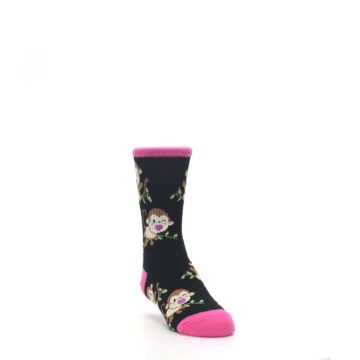 Image of Black Pink Monkey Kid's Dress Socks (side-1-front-02)