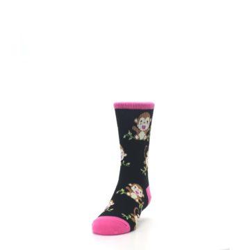 Image of Black Pink Monkey Kid's Dress Socks (side-2-front-06)