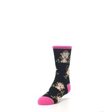 Image of Black Pink Monkey Kid's Dress Socks (side-2-front-07)