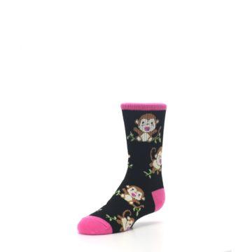 Image of Black Pink Monkey Kid's Dress Socks (side-2-front-08)