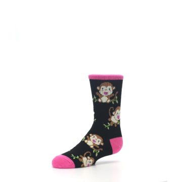 Image of Black Pink Monkey Kid's Dress Socks (side-2-09)