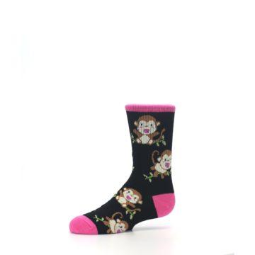 Image of Black Pink Monkey Kid's Dress Socks (side-2-10)