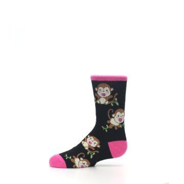 Image of Black Pink Monkey Kid's Dress Socks (side-2-11)