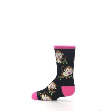 Image of Black Pink Monkey Kid's Dress Socks (side-2-13)