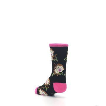 Image of Black Pink Monkey Kid's Dress Socks (side-2-back-15)