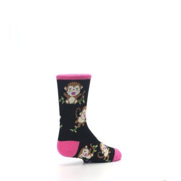 Image of Black Pink Monkey Kid's Dress Socks (side-1-back-22)