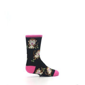 Image of Black Pink Monkey Kid's Dress Socks (side-1-23)