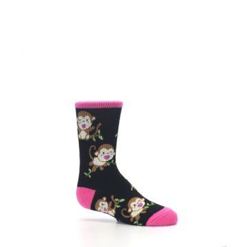 Image of Black Pink Monkey Kid's Dress Socks (side-1-25)
