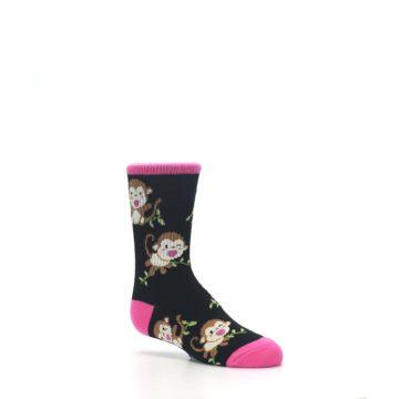 Image of Black Pink Monkey Kid's Dress Socks (side-1-26)